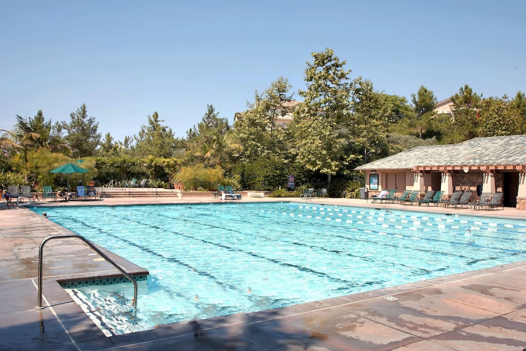 25-yards from one end to the other (Jr. Olympic) and heated year-round! Hot tub nearby, too.
