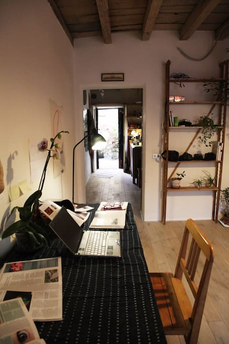 A view from your bedroom to the kitchen (now there is also a sliding door which close the room)