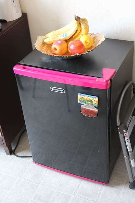 Your own mini-fridge in kitchen. Typical breakfast at our place includes fruit, yogurt, granola, cereal, toast, juice, coffee, etc.