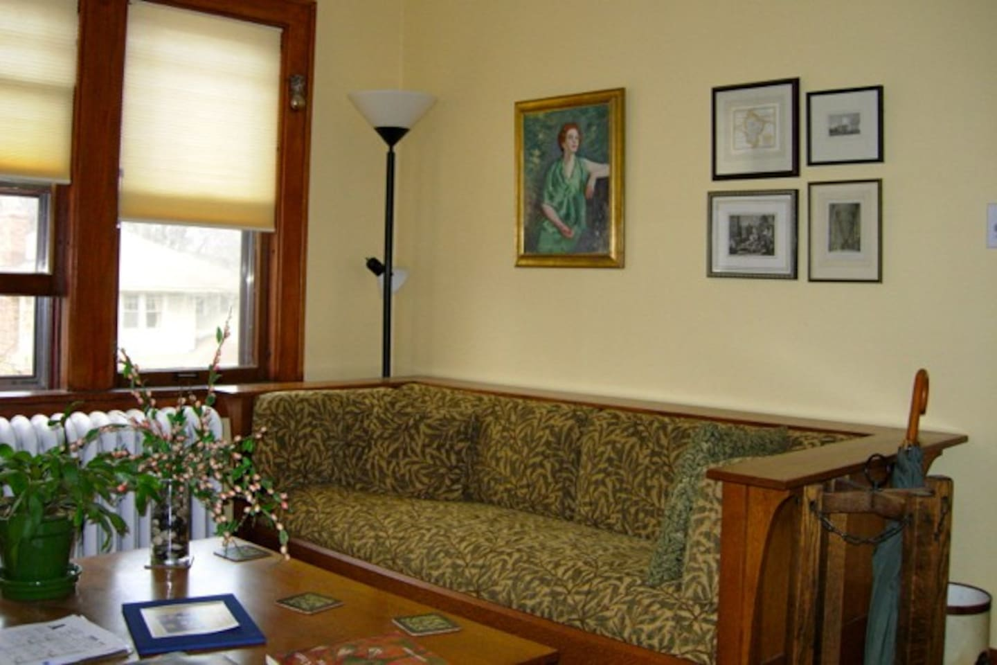 The living room with a Stickley settle (couch) and Stickley table in the 1926 condo.