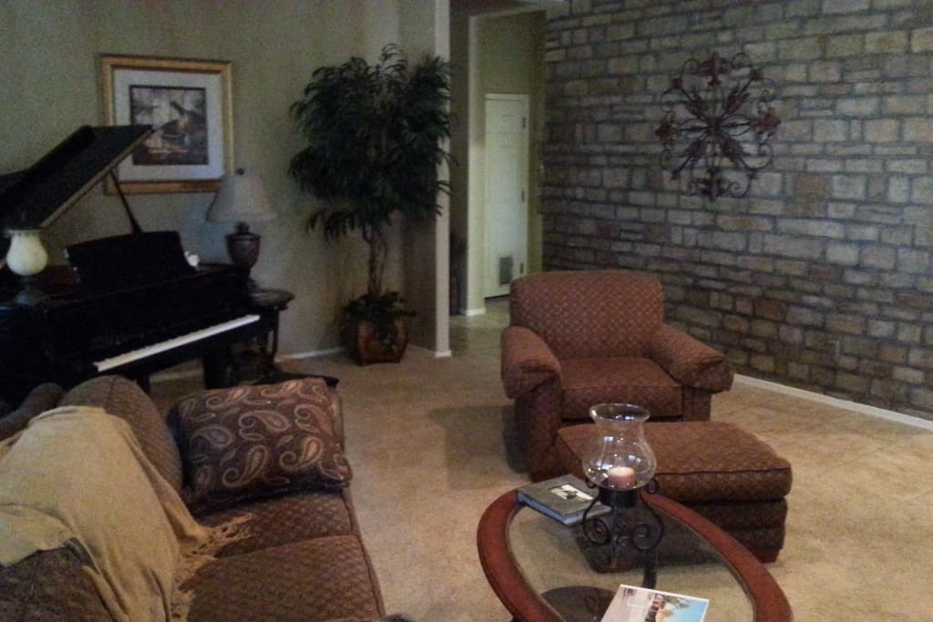Comfortable Living Room with a Piano