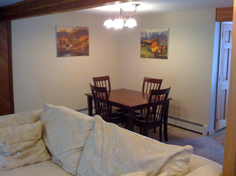 This is an open floor plan space on the first floor.  this is the dining area.