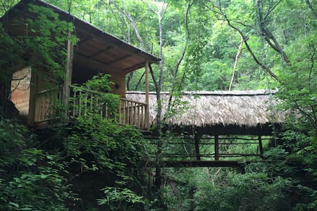 Wood Cabin Facing Natural Waterfal  - Hut