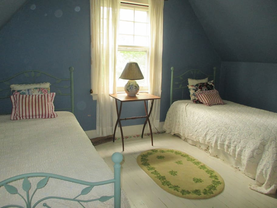 Two twins in a bright, airy bedroom