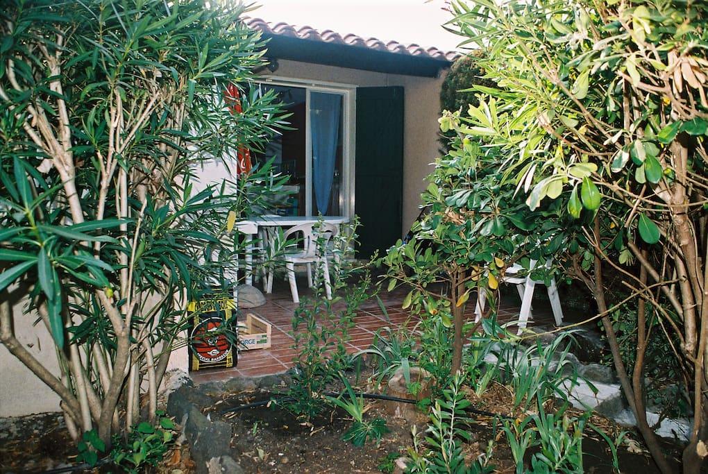 Terrasse à l'avant, accès direct dans la pinède