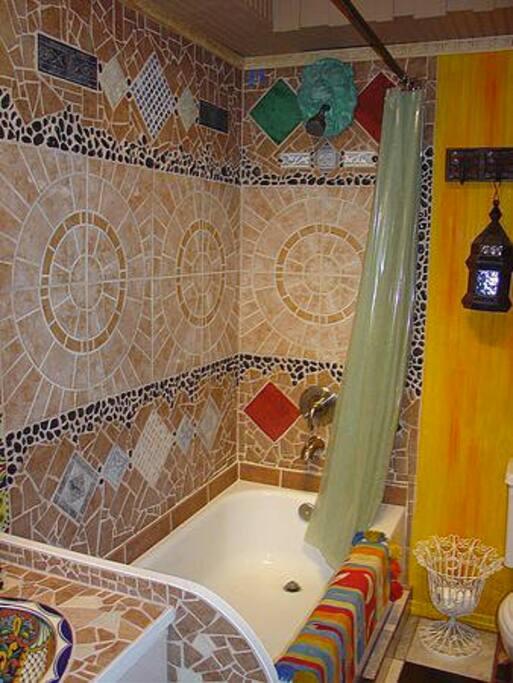 Artfully tiled bathroom