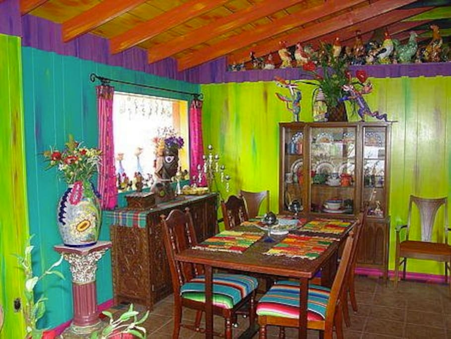 Bright cheery colors in dining room/living room