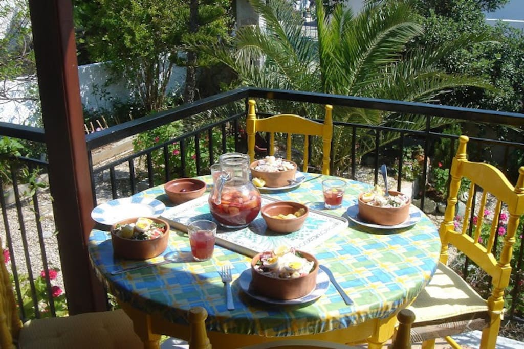The balcony is the place to eat your delicious fresh food