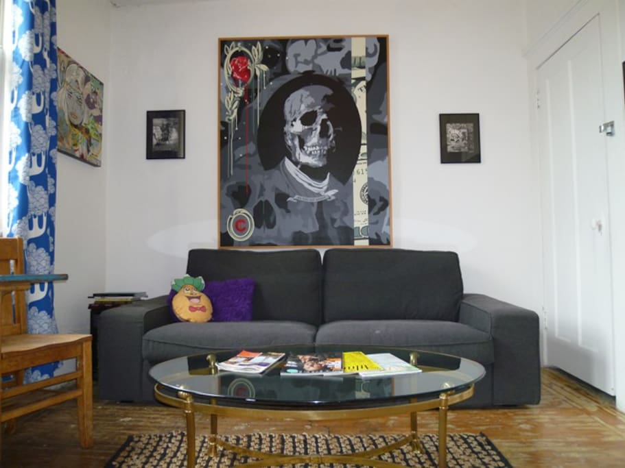 Comfy couch and art