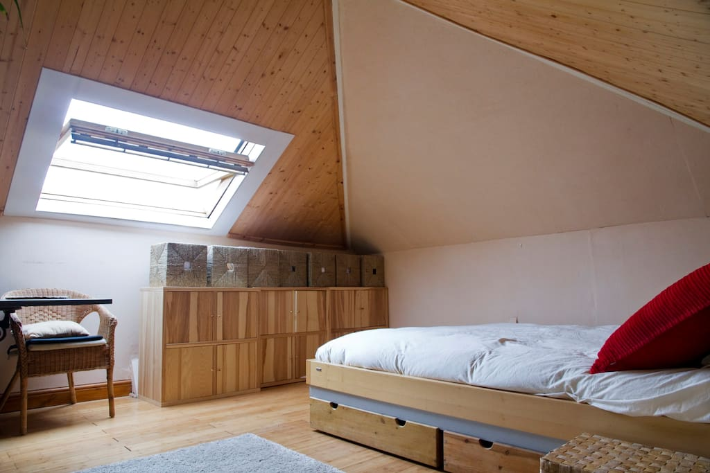 Skylight windows in loft apartment