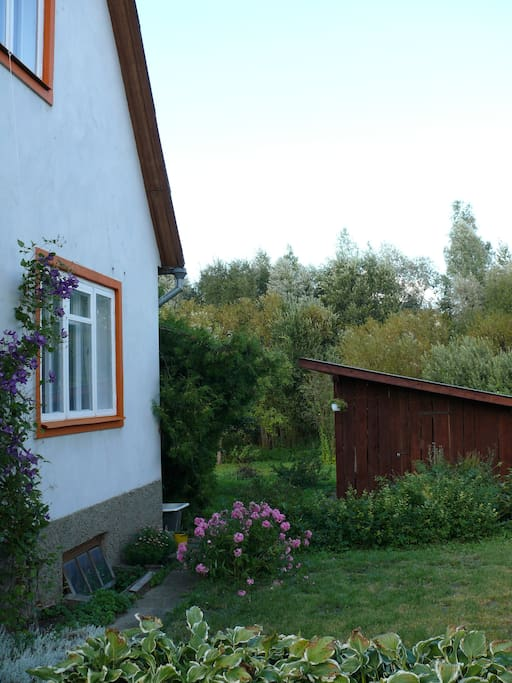View of the house, garden and the guestroom window