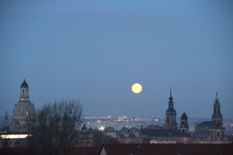 Blick vom Balkon auf das nächtliche Dresden ...