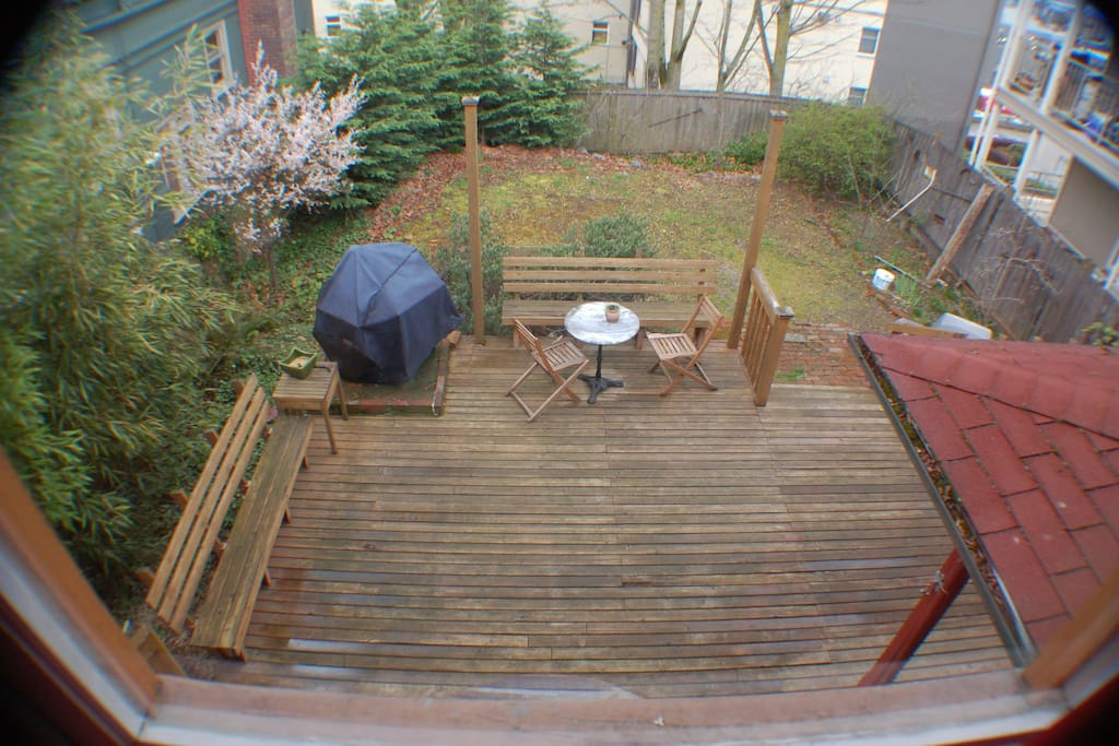 Spacious and Fenced backyard! Very safe for children and for your pets too!