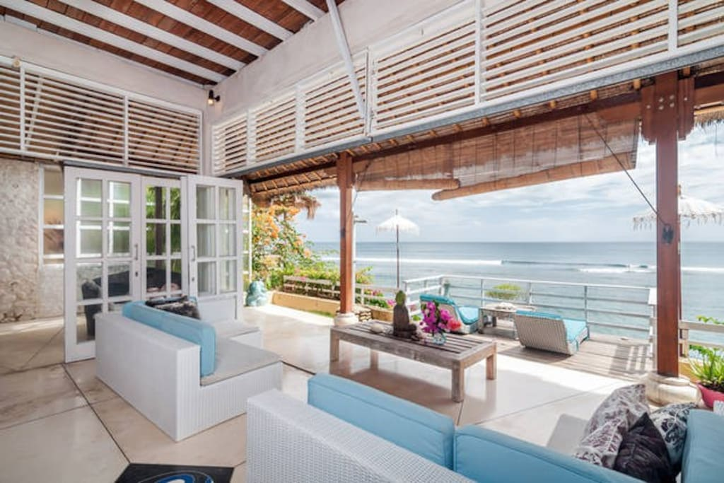 Living area .....outdoor shower and sun deck.