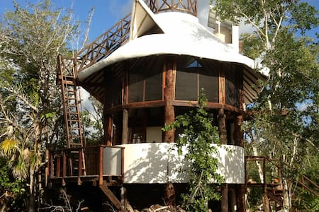 100% Self Sustainable House built with local materials, water comes from the SKY. Electricity from the SUN with Private Cenote. Sits in 5 hectare ranch with animals, vegetable garden. Total unique and private experience. 10 km to Tulum Beach.