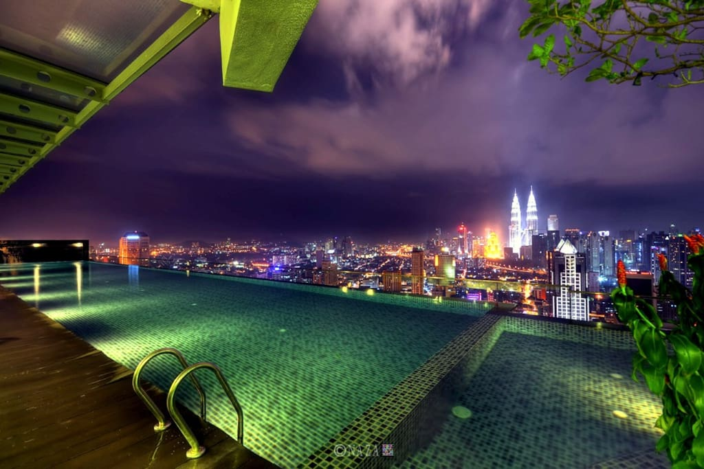 Swimming pool in rooftop is equipped with sona/steam room
