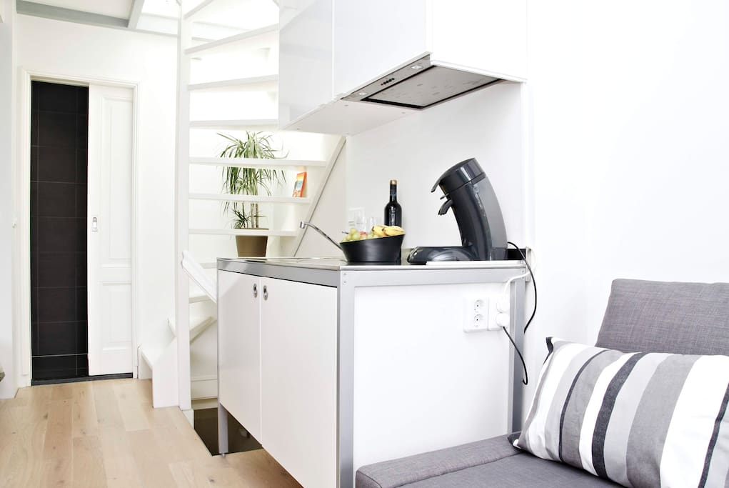 Kitchenette with: microwave-oven, cooker and refrigerator