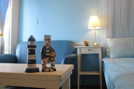 Love Travel   清新藍色夏天,電梯大樓,有獨立衛浴及陽台,免費wifi,步行到夜市約8分 - Haus
