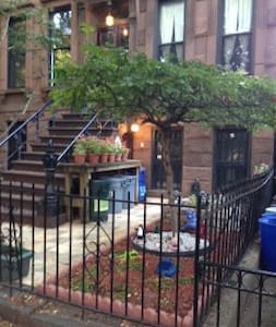 Our fully-equipped one-bedroom garden apt. is in our 125 year-old Brownstone home in historic Park Slope, Brooklyn.  The area has wonderful restaurants, is near Prospect Park, & the subway to all parts of NYC is just two blocks away.  Come visit.
