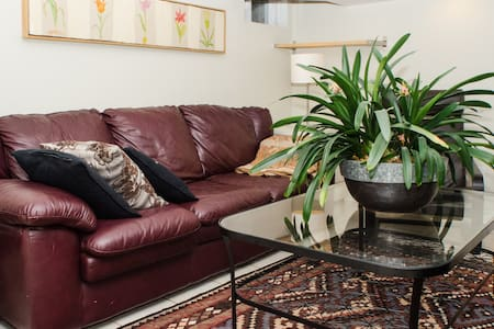 HI, Welcome to my charming eclectic very clean, bright,contemporary 1 bedroom basement apartment in Queen St West and Spadina area. Beautifully furnished, own laundry, wifi, quiet downtown living.   Separate living room and an eat in kitchen.