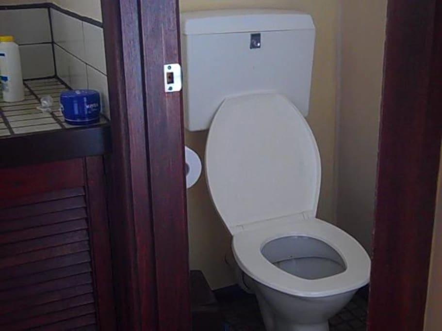 toilet with door separate from bathroom