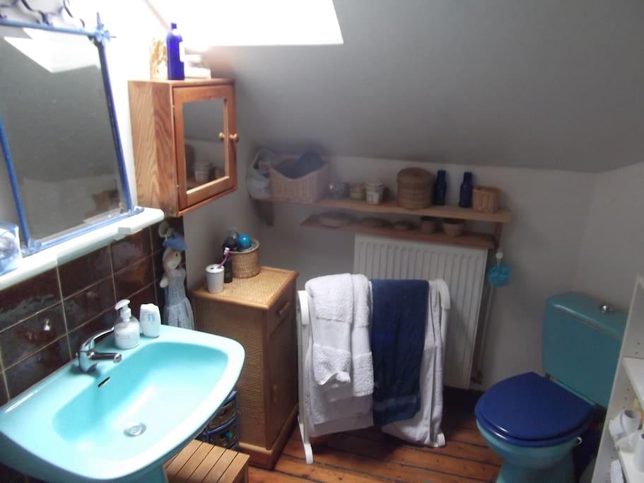 La salle de bain juste à côté de la chambre