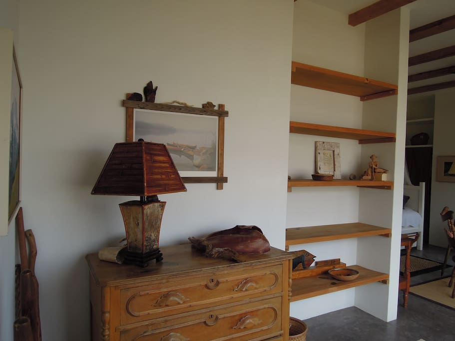 storage shelves and dresser in upstairs casita