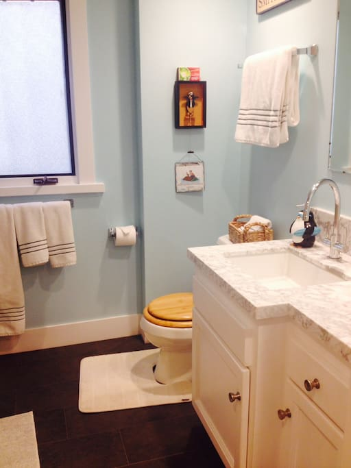 The bathroom (shower and bathtub to the left. High end cotton towels, TJ's toiletries and more marble)