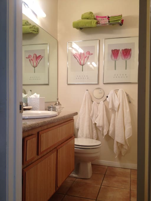 The room has a private bathroom just for you!
