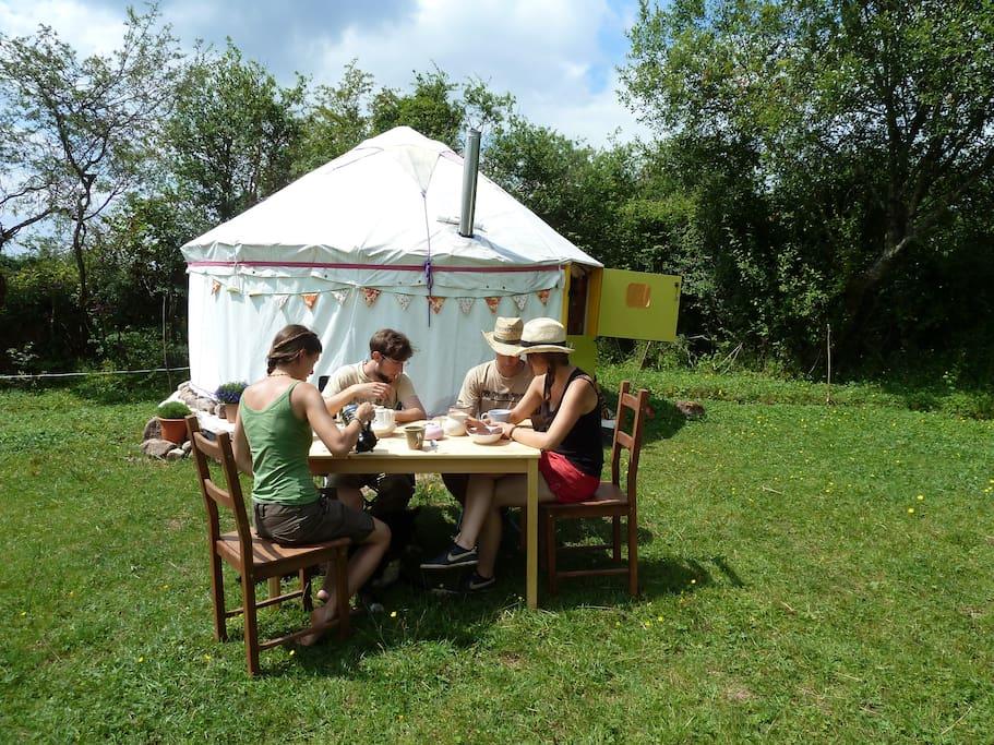 Al Fresco Dining in front of Yurt