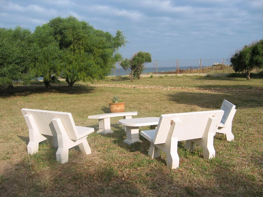 sunset tapas area in Finca Malyma beach front with 2 houses up to 25 people