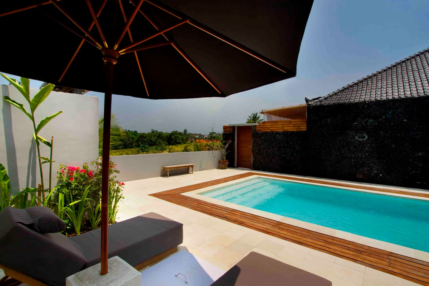 exterior, view from the pool sun lounge area