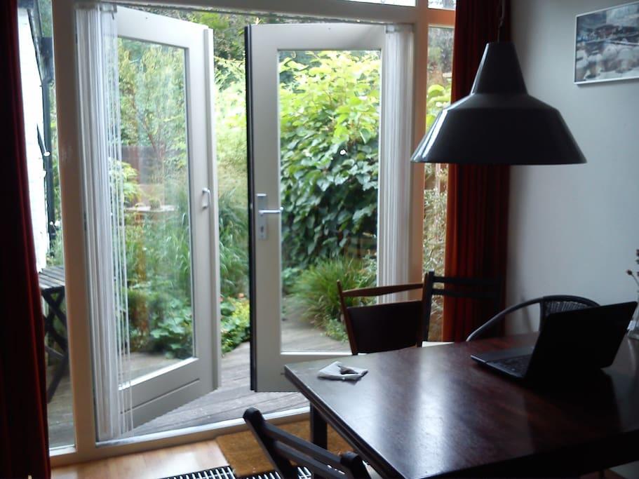 Kitchen table, view in garden