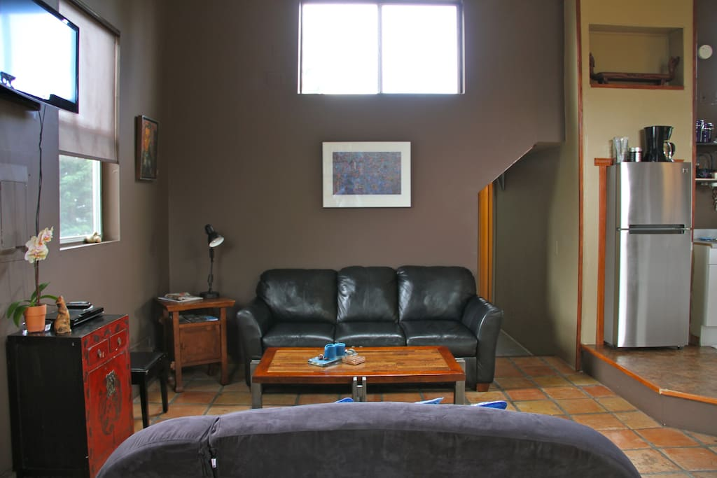 Leather sofa. Flat screen TV with Netflix, Youtube. Blue Ray/DVD player with a small DVD library.