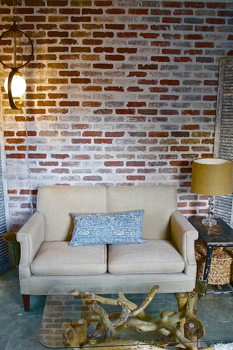 Decorated with up- cycled, re-purposed and vintage furniture and decor.