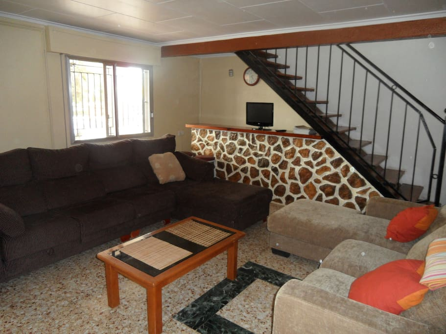 double room on second floor overlooking the pool and Sierra Calderona