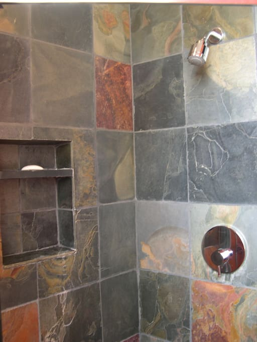 slate tiled shower