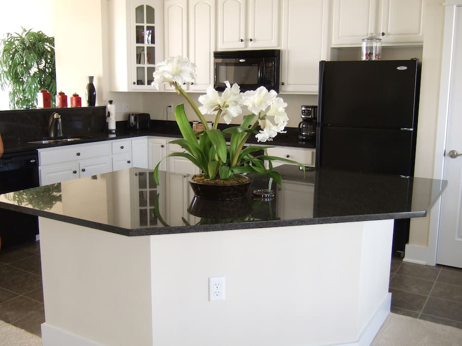 granite gourmet kitchen and island