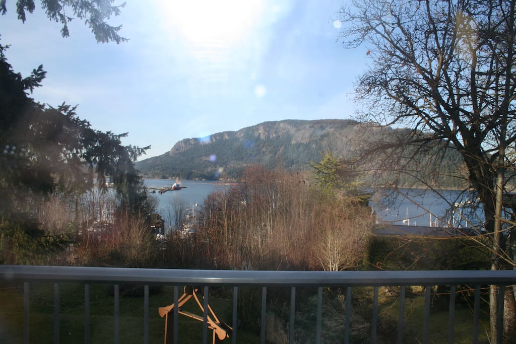 View out of living room, overlooking Cowichan Bay with the village just down below.