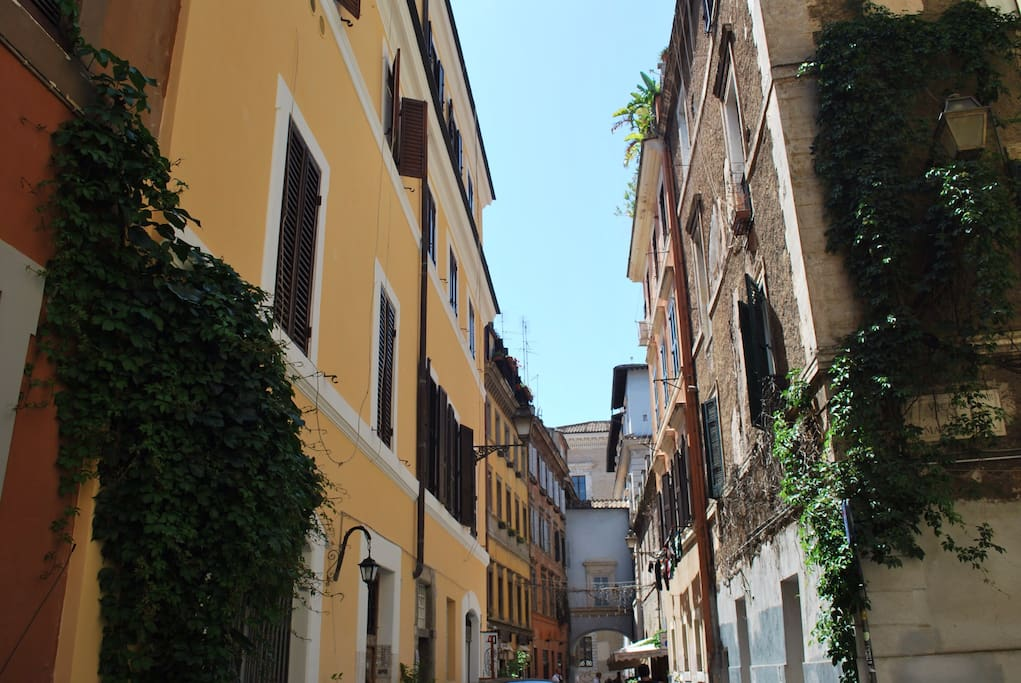 "The street ""Via dell'Arco di San Calisto"" where the apartment Aida Rhome Trasevere is situated."