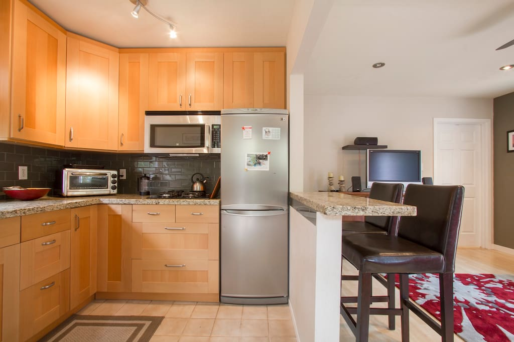Upgraded kitchen includes cooking basics, and is stocked with olive oil, butter, salt & pepper.