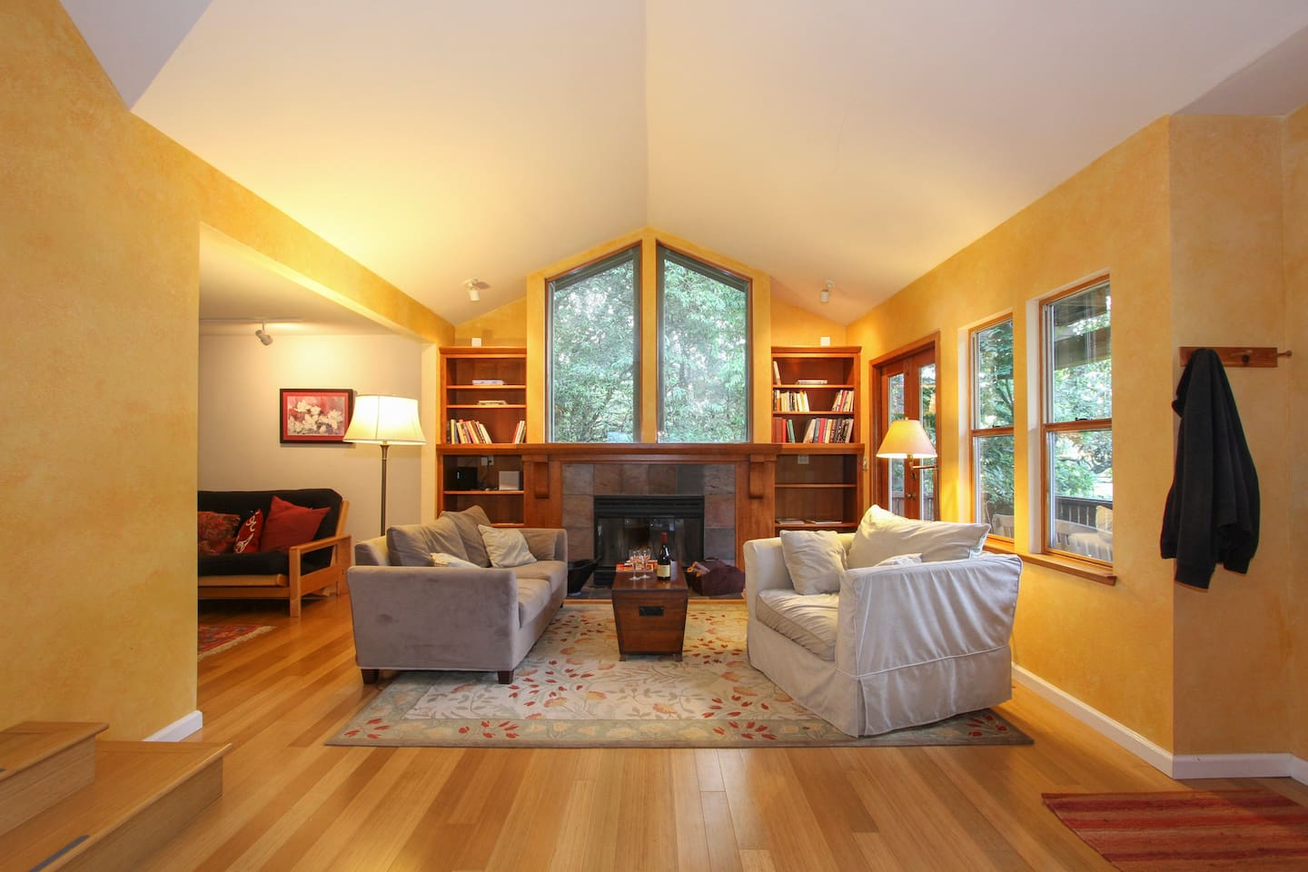 Living Room with fireplace; study to the left.