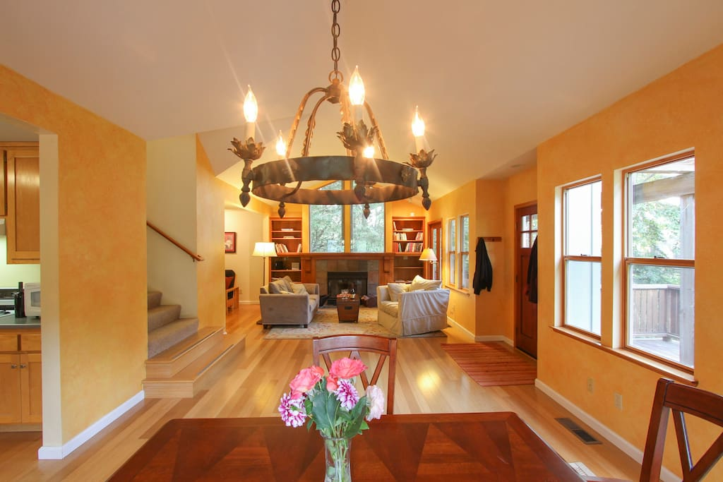 Open Living Room & Dining Room with High Ceilings & Lots of Natural Light