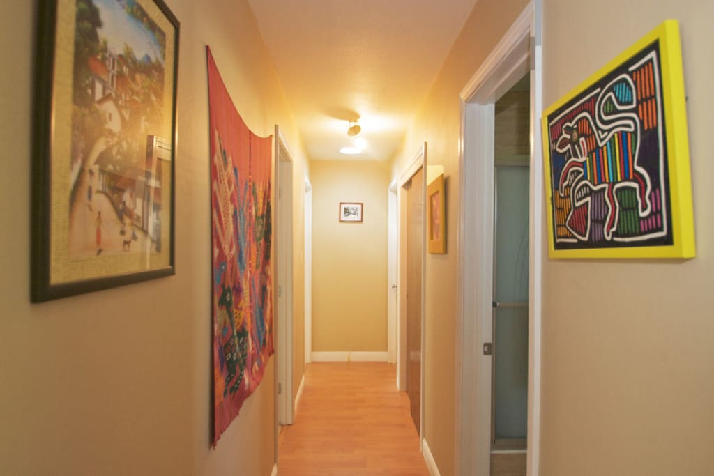 our hallway is decorated with art work from Honduras, Guatemala, New Mexico and Cologne, Germany