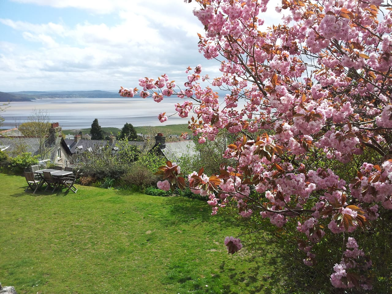 View over Morecambe Bay from outside the Garden Room