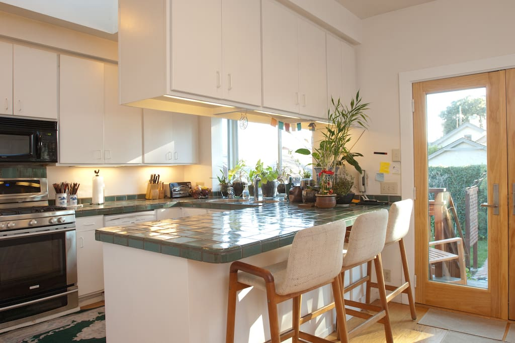 Light filled kitchen and counter - ideal for cooking and socializing with housemates