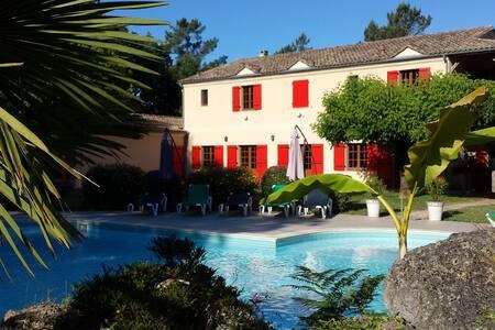 Manoir 10 chambres piscine tennis - Fargues-sur-Ourbise - Villa