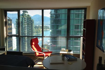 Newly furnished studio, located between Robson Street and Coal Harbour in Vancouver downtown, ocean view, in-suite laundry, wi-fi, gym, sauna, parking stall.  Walk distance to waterfront, Stanley Park, English bay.  Ideal for globe trotters.