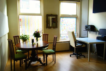The apartment is in the center, 3-5 minutes walk from Central Station. All supermarkets are near by, same as the main shopping area (10' walk). 1st floor. 1 bedroom, 1 big studio/living room. Toilet & shower are together. Light, quite & cosy.