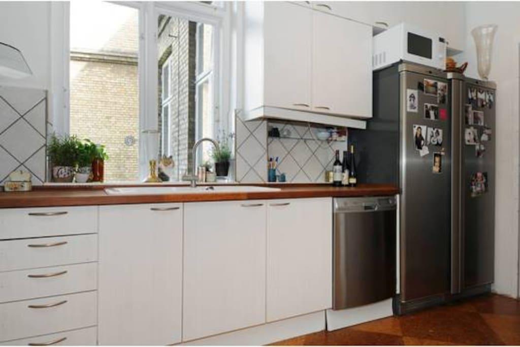 The kitchen. Large fridge and freezer, dishwasher, SMEG cooker,